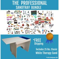 The Professional Sandtray Bundle Includes: - The Professional Sandtray, Lid & STURDY Stand - 25 lbs. of Classic White Therapy Sand - The EXPANDED Sand Play Starter Package (which includes hundreds of