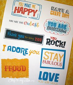 kind note printables for lunches