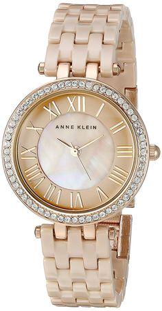 bc545480eb2 Amazon.com  Anne Klein Women s AK 2200TNGB Swarovski Crystal Accented Tan  Ceramic Bracelet Watch  Watches