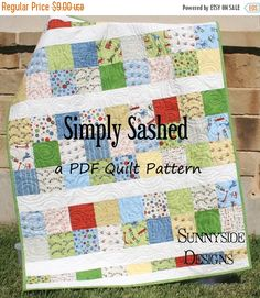 PDF Quilt Pattern, Simply Sashed, Charm Pack Precuts Simple Moda Riley Blake, Quick Fast Easy Beginner Intermediate, baby quilt pattern