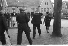 The arrest of a member of the Dutch nazi party NSB in Vriezeveen (1945).