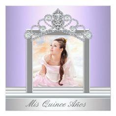Diamond Tiara Purple Photo Quinceanera 5.25x5.25 Square Paper Invitation Card