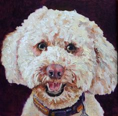 Labradoodle Custom Pet Portrait  6 x 6 by EnzieShahmiriDesigns, $135.00