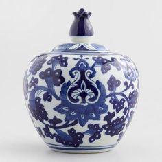 Blue and White Round Porcelain Ginger Jar - v1