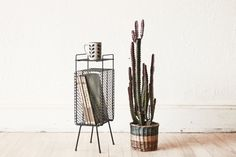 2 Available Mid Century Wire Plant Stand Magazine Rack on Etsy, $65.00