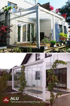 Terrassenüberdachung in weiß mit VSG Glaß – so muss das!
