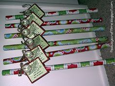 Neighbor gift = wrapping paper and a roll of tape.  Add a tag:  Since November you've been shopping,   barely sleeping, hardly stopping.   Now it's late you're in a scrape, out of paper, out of tape.   Hope this wrap helps save the day!   Have a Happy Holiday!