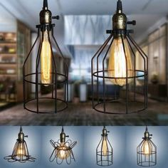 1Pcs Iron Wire Cage Lampshade Chandelier Bird Retro Black Bar Coffee Home Hanging Ornament Decor - Banggood Mobile