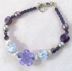 Bracelet With Purple & Lavender And Flower Bead by #BranchPondJewelry