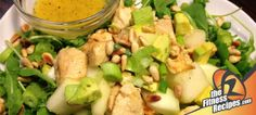 Fitness Recipes – Melon salad with chicken and pine nuts by Fitness Recipes