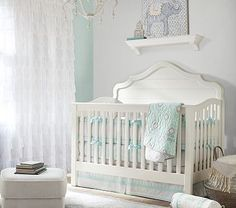 This vintage cottage crib has a mattress platform which offers three height options to accommodate as Annabel Lee grows. It easily adapts from a crib to a toddler bed to a full-sized bed.