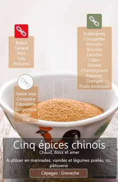 Les ingrédients qui se marient bien avec le mélange 5 épices chinois: Snack Recipes, Cooking Recipes, Curry, Homemade Seasonings, Spices And Herbs, Party Food And Drinks, Tips & Tricks, Food Science, Spice Mixes