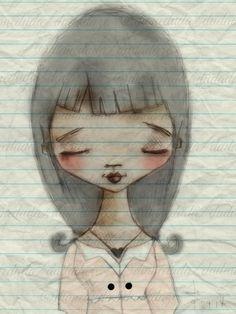 Print of my digitally enhanced sketch Sketchbook Girl por DUDADAZE