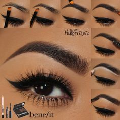 """""""This brow tutorial by is so so 🔥🔥! She used brow zings, gimme brow & high brow to get this flawless brow look—check out her page for the…"""" Glam Makeup, Makeup Inspo, Beauty Makeup, Eye Makeup, Hair Makeup, Mascara, Eyeliner, Eyeshadow, Benefit Brow"""