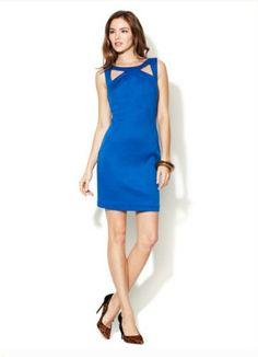 Cotton Cut Out Sheath by Ava & Aiden at Gilt Royal Blue Dresses, Dress Cuts, Top Stitching, A Line Skirts, Sheath Dress, Ava, Hemline, Fashion Dresses, High Neck Dress