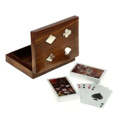 An elegant looking box to keep your playing cards deck. The box is handcrafted in pure teek wood, also called sesum in India. An elephant shape brass plate enlay on the top adds to the beauty of the box.