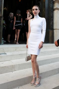 Emma Roberts arrives at the Versace show as part of Paris Fashion Week Haute-Couture Fall/Winter 2013-2014 in Paris