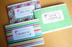 Coupon organization - laminated envelopes.  Makes them a little stiff, but more sturdy and water resistant.