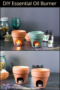 Very simple and easy to make, these DIY essential oil burners are perfect after a stressful day. Diy Candle Burner, Wax Burner, Essential Oil Burner, Essential Oils, Easy Diy Crafts, Diy Crafts To Sell, Diy Wax Melts, Wiccan Decor, Oil Candles