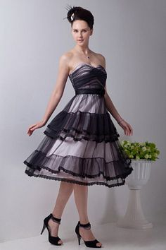 Tulle Sweetheart Classic Party Dresses - Order Link: http://www.theweddingdresses.com/tulle-sweetheart-classic-party-dresses-twdn0836.html - Embellishments: Lace , Ruched; Length: Tea Length; Fabric: Tulle; Waist: Natural - Price: 139.79USD