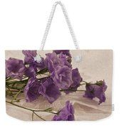 Campanulas And Lace Digital Pastel Art Work Weekender Tote Bag by Sandra Foster