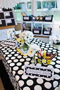Polka Dot Nameplates Classroom Decor Themes, Classroom Setup, Classroom Design, Future Classroom, School Classroom, Classroom Organization, School Teacher, Classroom Environment, School Office