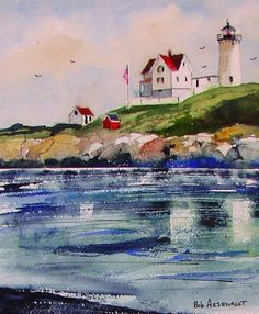 Bob Arsenault, Watercolors, Kennebunkport Artist, Landscapes Maine coast. From a quiet still life to the powerful structure of our coastal lighthouses,Watercolors, Landscapes