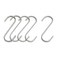 S hooks - I use them for everything.  I prefer rusty S hooks from my dad's garage, but these from Ikea are lovely and cheap.  Attach them to a curtain rod and hang towels, kitchen utensils, jewelry.  Big S hooks, little S hooks, all have a use.
