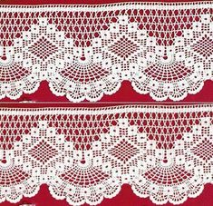Crochet Edgings Design Crochet lace edging with point Crochet Edging Patterns, Filet Crochet Charts, Crochet Lace Edging, Crochet Hook Set, Crochet Motifs, Crochet Borders, Thread Crochet, Crochet Trim, Irish Crochet