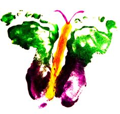 Painted butterfly using baby's feet :)