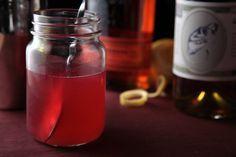 "Rhubarb Sour: 2 oz Rhubarb Simple Syrup (Erin made), 2 oz bourbon, 1.5 oz ""Nellie & Joe's"" Key West lemon juice. Erin made these tonight, sooo yummy! 1-23-17"