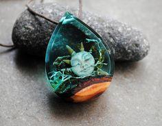 Mermaid Necklace Resin Wood Necklace Drop Pendant