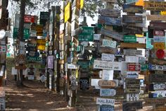 Signpost Forest, Watson Lake, Yukon.  See if you can locate the words: white, bar, dead, and south.  6/2013.