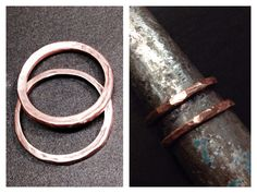 Copper stack rings made from washers.  I made both of these rings in less than an hour.  Very easy, just a lot of pounding. By LjBlock Designs