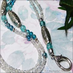 Aqua sea blue shades  - Beaded Lanyard, key ring, id badge, holder, work pass
