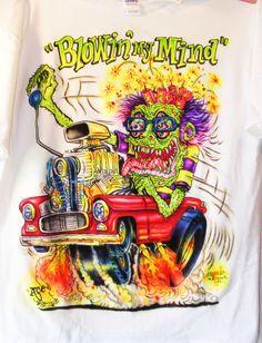 JOHNNY ACE Ed Roth RAT FINK AIRBRUSHED MONSTER SHIRT 55 CHEVY Gasser tee DRAG!! #JohnnyAceStudiosEdBIGDADDYRoth
