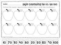 Apple Skip Counting Cut and Paste - 4 pages