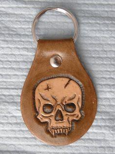 Skull Carved Leather Keychain. $15.00, via Etsy.