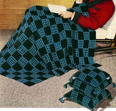 Checkmate Afghan crochet pattern from Afghans & Matching Pillows, originally published by Coats & Clark, Book 505, in 1954.