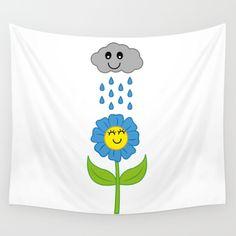 Happy Rain Wall Tapestry by fishdesigns