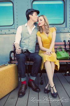 Adorable vintage engagement photo. Super classy.