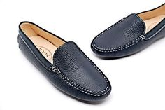 431556f398d Navy Pebble Leather Loafers Driving W Rubber Soles - -nwb Flats