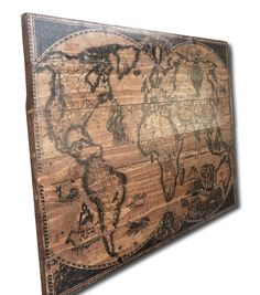 Wood Map Wall Art weathred wood map wall art, carved home decor, wooden maps