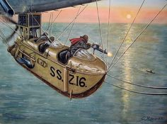 """The SSZ (Sea Scout Zero) non-rigid airships or """"blimps"""" were developed in United Kingdom during World War I from the earlier SS (""""Sea Scout"""") class. The main role of these craft was to escort convoys and scout or search for German U-Boats."""