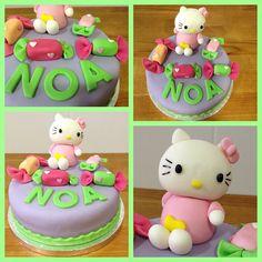 A Noa la quisieron sorprender en su cumpleaños con una tarta muy especial. Como le gusta mucho Hello Kitty quisimos hacerle algo muy dulce para esta pequeña, así que decidimos acompañar a la tierna gatita con muchos caramelos!!