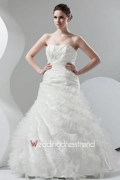 Wholesale and Retail Unique Floor-length Organza Tiered Wedding Dress - Cheap Wedding Dresses Wholesale and Retail Online Store