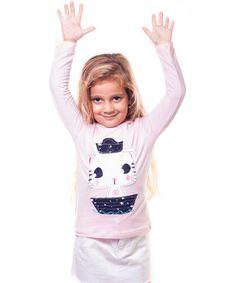 Light Pink Cat Tee - Toddler & Girls #zulily #zulilyfinds