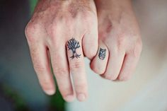 Minimalist tattoos for our BFF tattoos! Not on the fingers, though. You could get the owl, and I'd get the tree! @Ruthanne Focht Blanchard