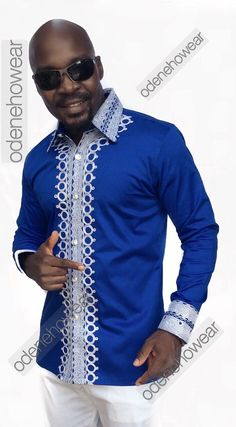 Odeneho Wear Men's Blue Polished Cotton Top With by Odenehowear African Attire, African Wear, African Women, African Dress, African Style, African Clothing For Men, African Print Fashion, African Fashion Dresses, African Print Shirt