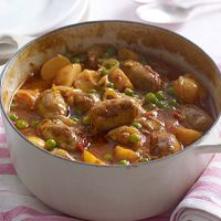 Sausage, pea and potato casserole